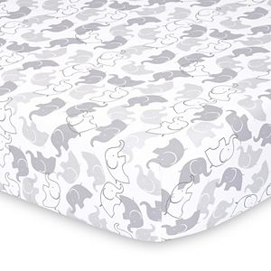 PS by The Peanutshell 2 Pack Elephants & Stripes Fitted Crib Sheets