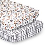 PS by The Peanutshell 2 Pack Woodland Faces Plaid Crib Sheets