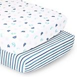 PS by The Peanutshell 2 Pack Nautical & Stripes Fitted Crib Sheets