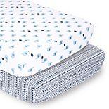 PS by the Peanutshell 2 Pack Elephant & Geometric Stripes Crib Sheets