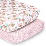 PS by The Peanutshell 2 Pack Pink & Gold Butterfly Floral Crib Sheets
