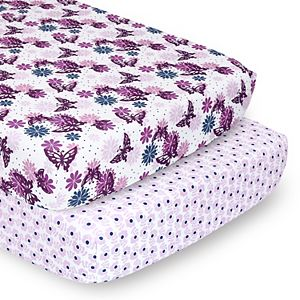 PS by The Peanutshell 2 Pack Floral Butterflies Fitted Crib Sheets