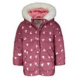 Baby Girl Carter's Heart Print Maroon Puffer Jacket