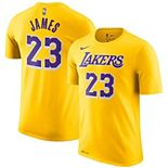 Men's Nike LeBron James Gold Los Angeles Lakers Icon Edition 2018/19 Name & Number Performance T-Shirt