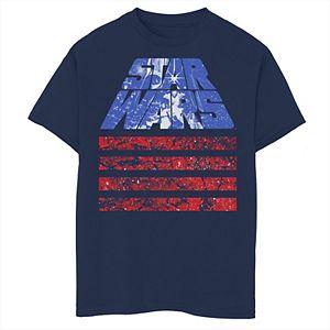 Boys 8-20 Star Wars Retro Slant Logo Red White & Blue July 4th Graphic Tee