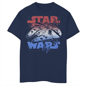 Boys 8-20 Star Wars Falcon July 4th Red White & Blue Graphic Tee