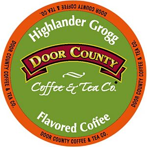 Door County Coffee & Tea Co. Highlander Grogg Specialty Single-Serve Coffee Pods, Medium Roast, 10 Count