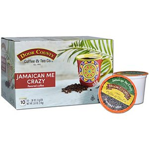 Door County Coffee & Tea Co. Jamaican Me Crazy Specialty Single-Serve Coffee Pods, Medium Roast, 10 Count