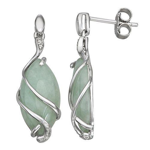 Green Jade Diamond Accent Drop Earrings