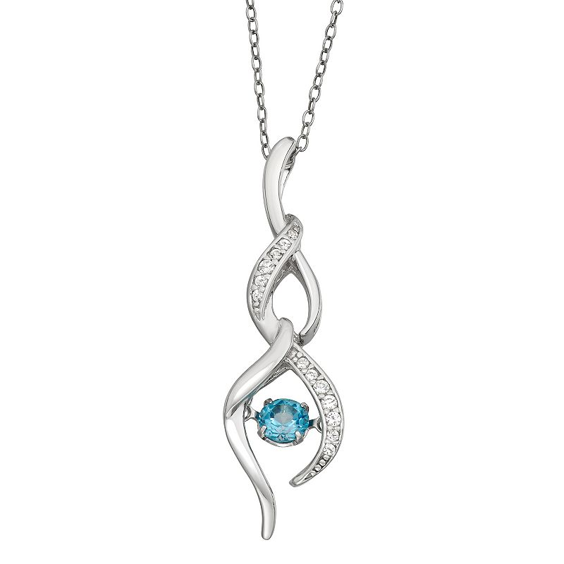 """""""Sterling Silver Swiss Blue Topaz & Lab-Created White Sapphire Drop Pendant Necklace. Women's. Size: 18"""""""""""""""