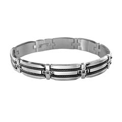 LYNX Stainless Steel Two-Tone .15-ct. T.W. Black Diamond Link Bracelet