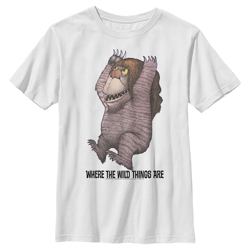 Boys 8-20 Where The Wild Things Are Long Hair Monster Portrait Graphic Tee. Boy's. Size: XS. White