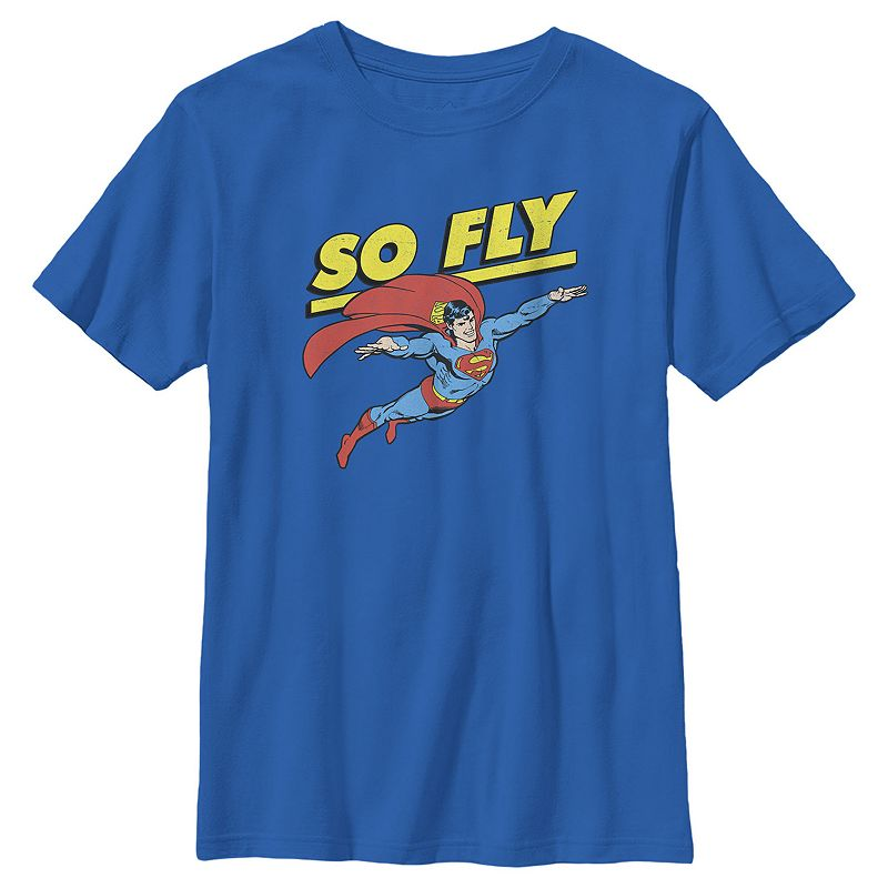 Boys 8-20 DC Comics Superman So Fly Portrait Graphic Tee. Boy's. Size: XS. Med Blue