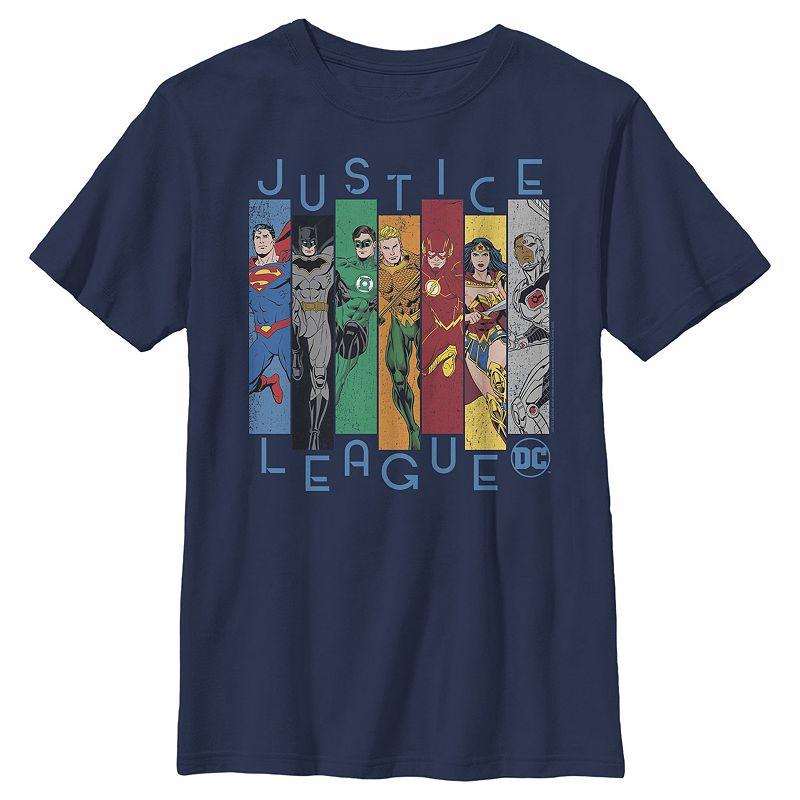 Boys 8-20 DC Comics Justice League Colorful Panels Graphic Tee. Boy's. Size: XS. Blue