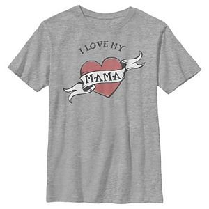 Boys 8-20 I Love My Mama Heart Tattoo Mother's Day Graphic Tee