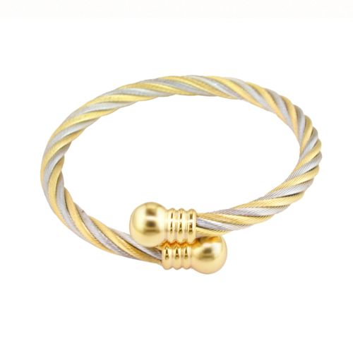 18k Gold-Over-Stainless Steel Two-Tone Cable Bypass Bangle Bracelet