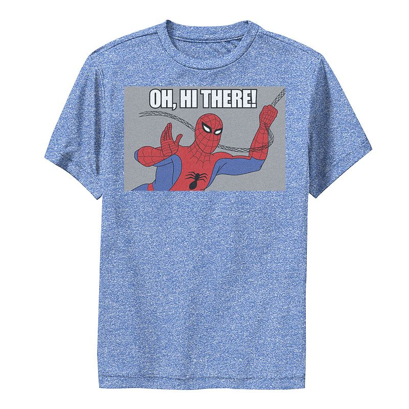 Boys 8-20 Marvel Spider-Man Swinging Oh. Hi There! Vintage Portrait Performance Graphic Tee. Boy's. Size: Small. Med Blue