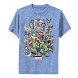 Boys 8-20 Marvel D23 Exclusive Franchise Superhero Collage Performance Graphic Tee