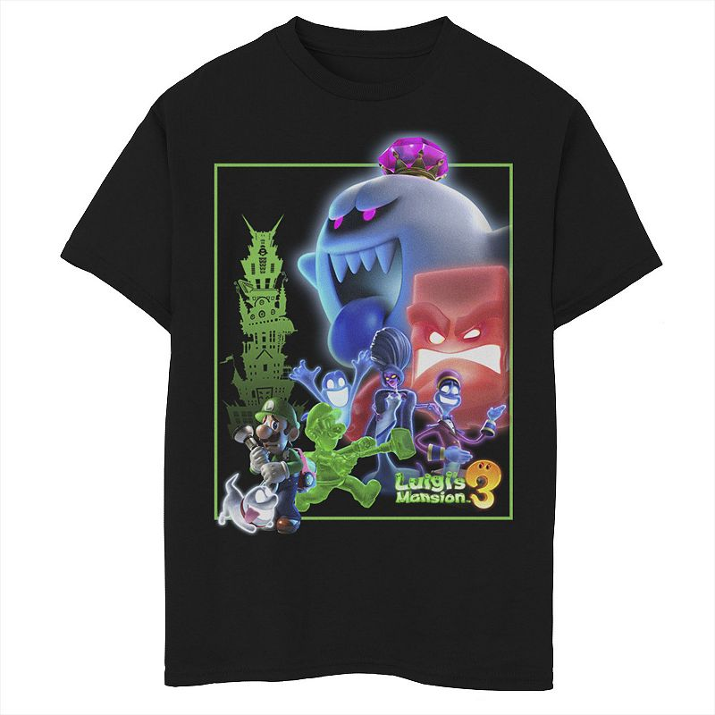 Boys 8-20 Nintendo Luigi's Mansion 3 Ghost Group Poster Graphic Tee, Boy's, Size: Small, Black