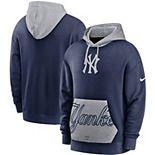 Men's Nike Navy/Gray New York Yankees Heritage Tri-Blend Pullover Hoodie