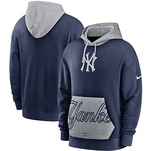 Men's Nike Navy/Gray New York Yankees Heritage Tri-Blend Pullover Hoodie