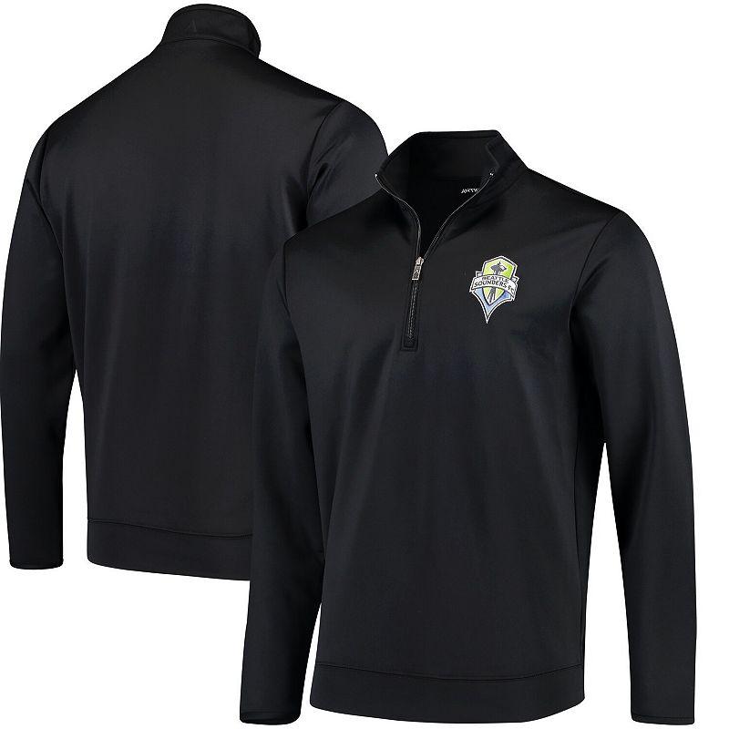 Men's Antigua Black Seattle Sounders FC Leader Quarter-Zip Pullover Jacket. Size: Small