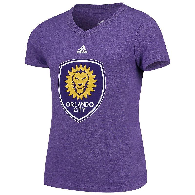 Girls Youth adidas Purple Orlando City SC Primary Logo V-Neck Tri-Blend T-Shirt, Girl's, Size: YTH Small