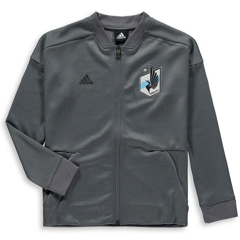 Youth adidas Gray Minnesota United FC Crest Anthem Full-Zip Jacket. Boy's. Size: YTH Large. Grey