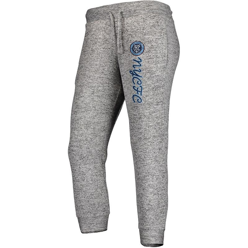 Women's Fanatics Branded Heathered Gray New York City FC Cozy Collection MLS Steadfast Crop Jogger Pant, Size: 2XL, Grey