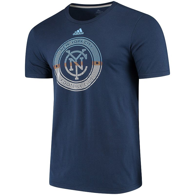 Men's adidas Navy New York City FC Redirection Logo T-Shirt. Size: Small. Blue
