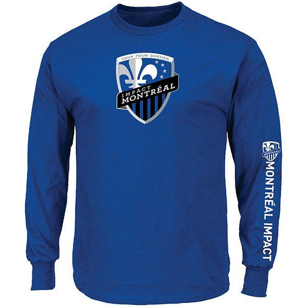 Men's Majestic Blue Montreal Impact Global Sensation Big & Tall Long Sleeve T-Shirt