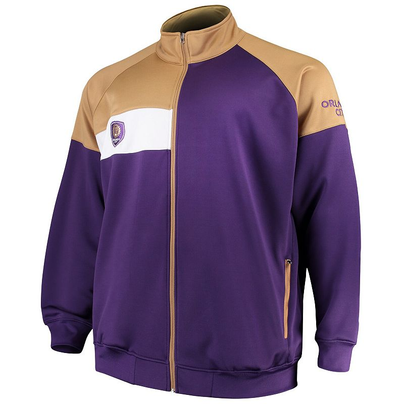 Men's Majestic Purple/Gold Orlando City SC Big & Tall Poly Fleece Full-Zip Track Jacket. Size: 2XLT