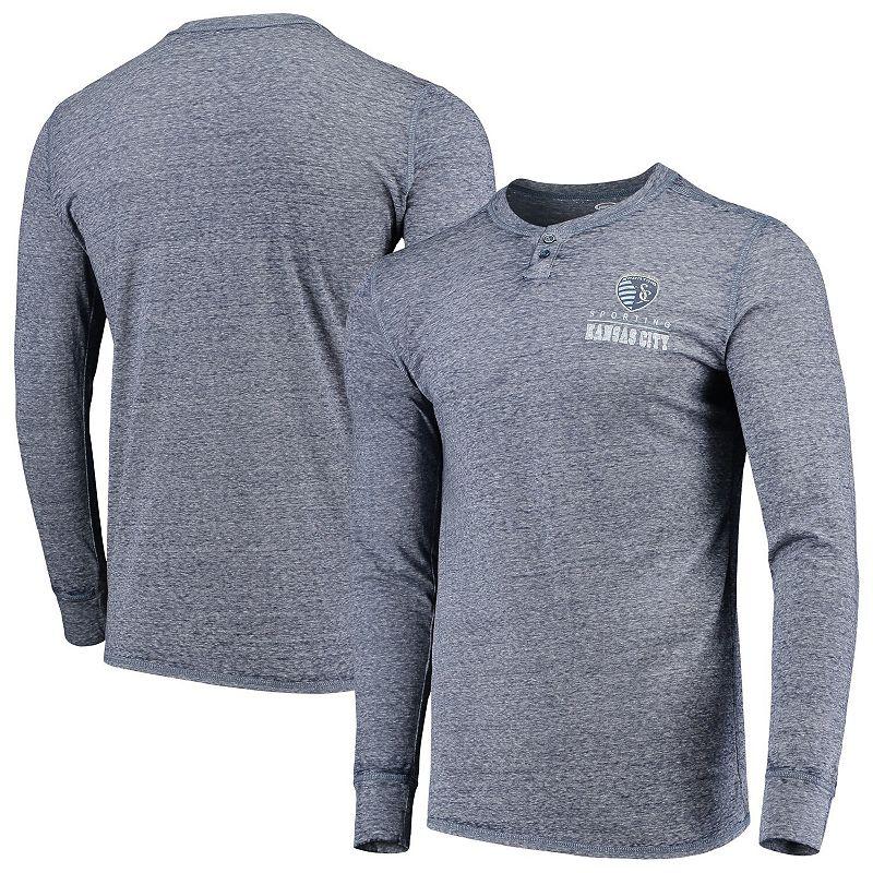 Men's Concepts Sport Navy Sporting Kansas City Podium Henley Long Sleeve T-Shirt. Size: Small. Blue