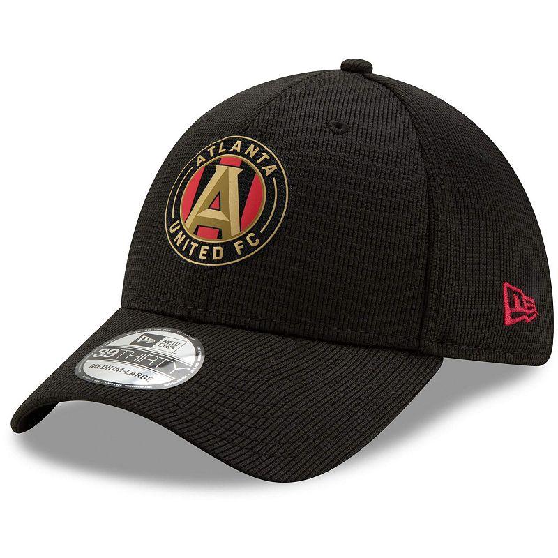 Men's New Era Black Atlanta United FC 2019 On Field 39THIRTY Flex Hat. Size: Medium/Large