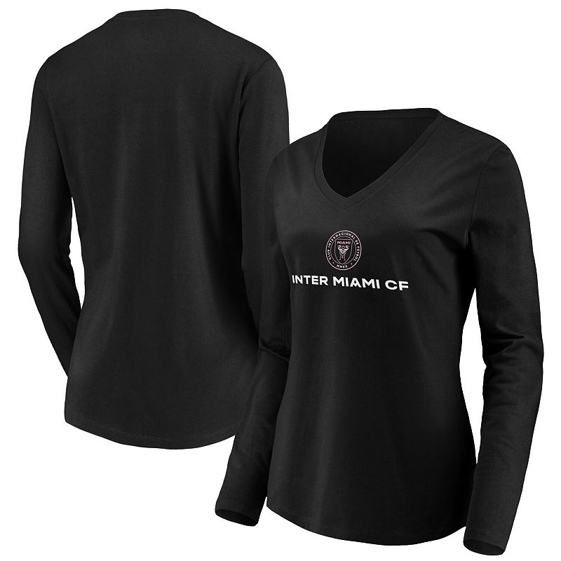 Women's Fanatics Branded Black Inter Miami CF Team Primary Logo Long Sleeve V-Neck T-Shirt. Size: Small