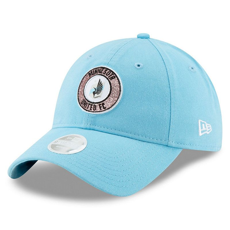 Girls Youth New Era Light Blue Minnesota United FC Patched Sparkle 9TWENTY Adjustable Hat