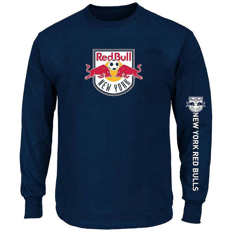 Men's Majestic Navy New York Red Bulls Global Sensation Big & Tall Long Sleeve T-Shirt. Size: 6XB. Blue