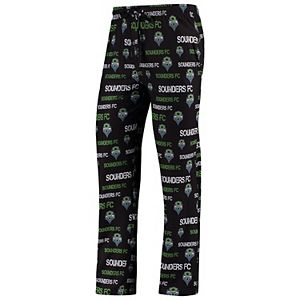 Men's Concepts Sport Black Seattle Sounders FC Midfield All-Over Print Sleep Pants