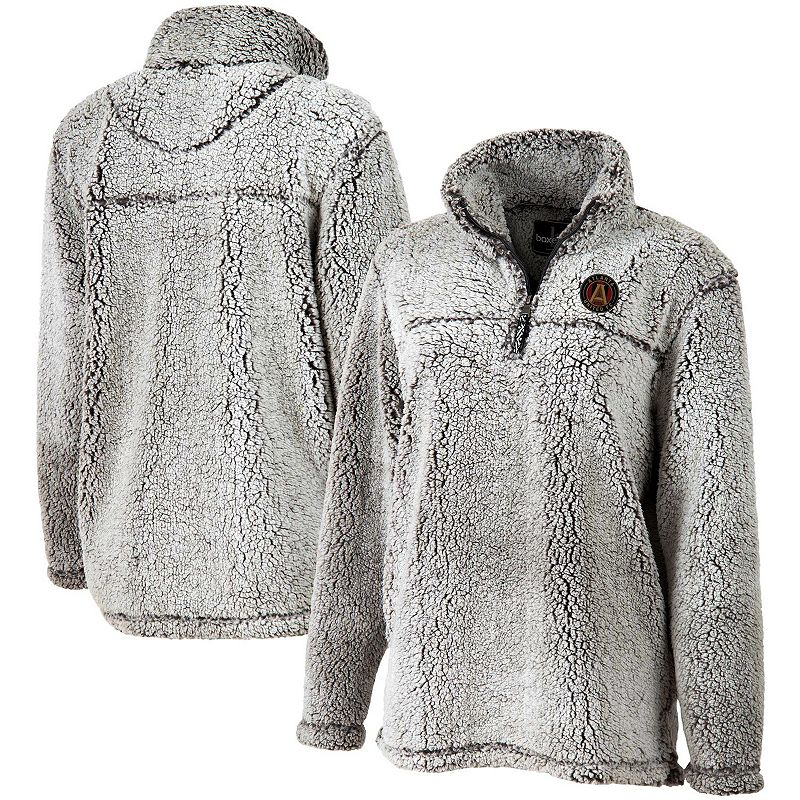 Women's Gray Atlanta United FC Sherpa Quarter-Zip Pullover Jacket. Size: XS. Grey