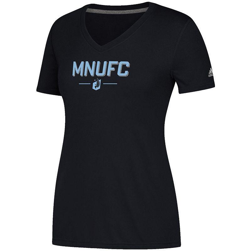 Women's adidas Black Minnesota United FC Lined Up Performance V-Neck T-Shirt. Size: Small