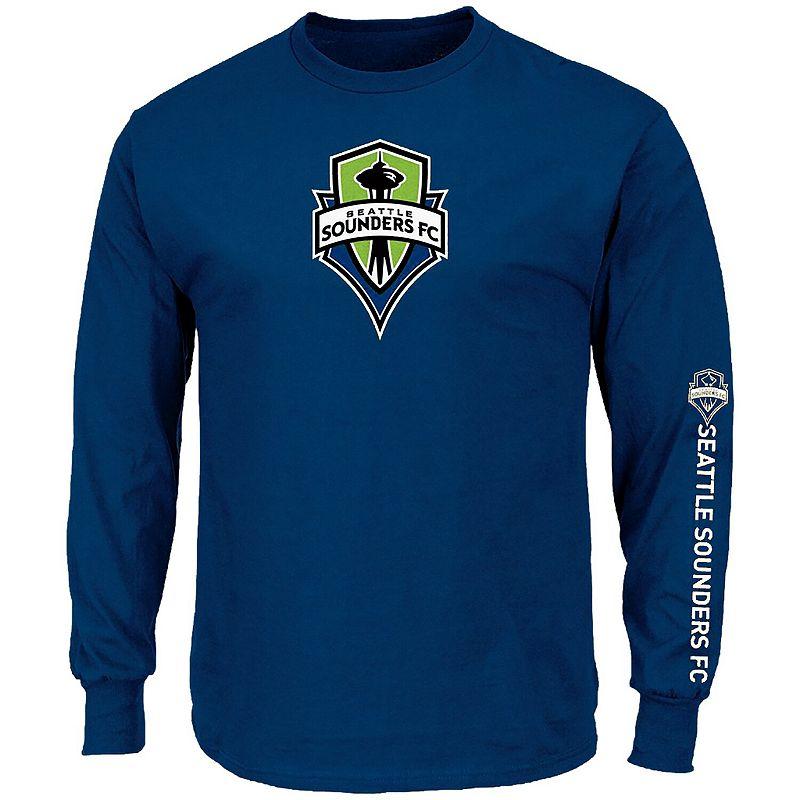 Men's Majestic Royal Seattle Sounders FC Global Sensation Big & Tall Long Sleeve T-Shirt. Size: 4XB. Blue