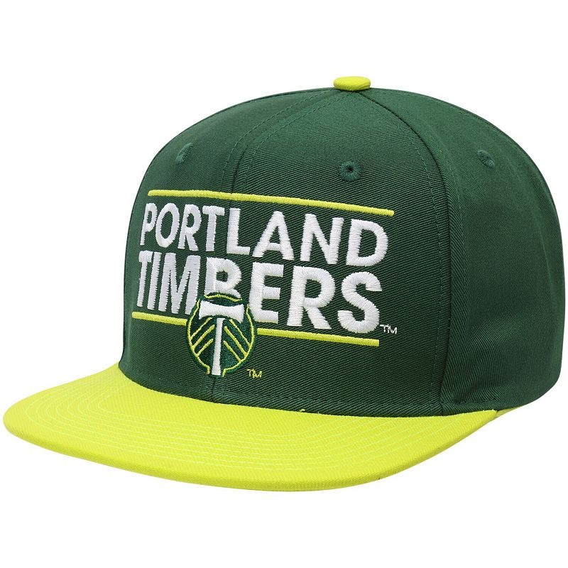 Men's adidas Green/Yellow Portland Timbers Dassler Flat Brim Two-Tone Snapback Adjustable Hat