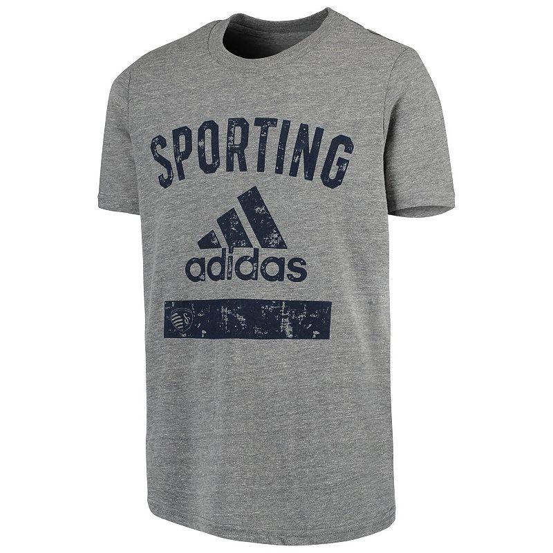 Youth adidas Heathered Gray Sporting Kansas City Team Tri-Blend T-Shirt. Boy's. Size: YTH Large. Grey
