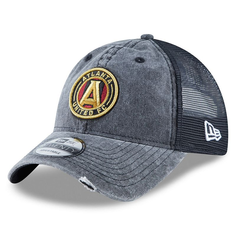 Men's New Era Black Atlanta United FC Tonal Washed 2 Trucker 9TWENTY Adjustable Hat
