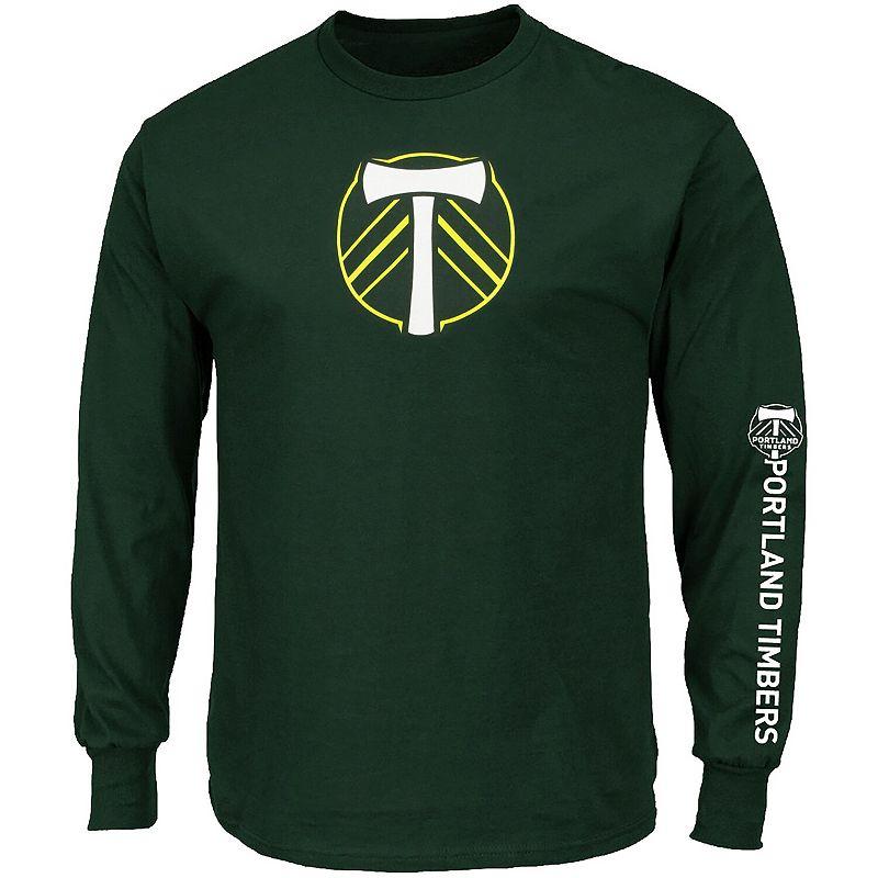 Men's Majestic Green Portland Timbers Global Sensation Big & Tall Long Sleeve T-Shirt. Size: 2XLT