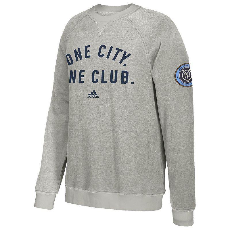 Men's adidas Gray New York City FC Local Slogan Sweatshirt. Size: Small. Grey
