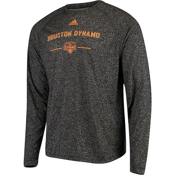 Men's adidas Heathered Black Houston Dynamo Lined Up Performance Raglan Long Sleeve T-Shirt