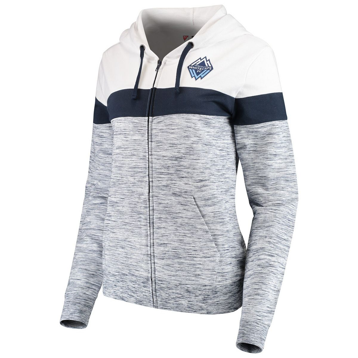 Women's 5th & Ocean by New Era Navy/White Vancouver Whitecaps FC Space Dye French Terry Full-Zip Hoodie HsOpJ
