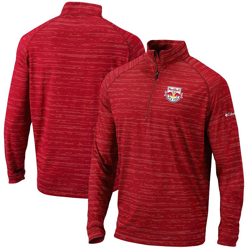 Men's Columbia Red New York Red Bulls Approach Raglan Quarter-Zip Pullover Jacket. Size: Small
