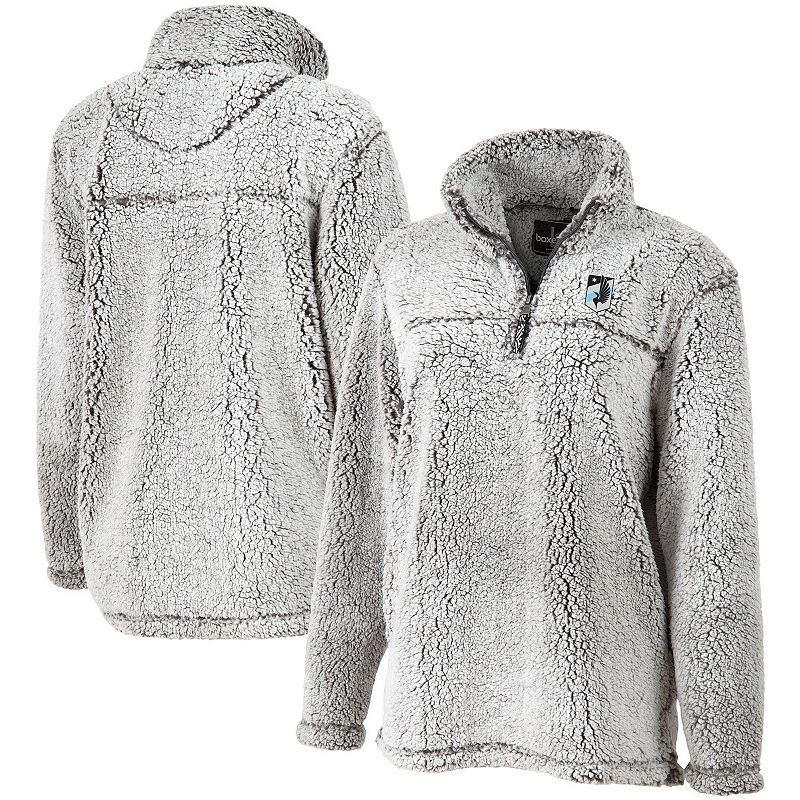 Women's Gray Minnesota United FC Sherpa Quarter-Zip Pullover Jacket. Size: XS. Grey
